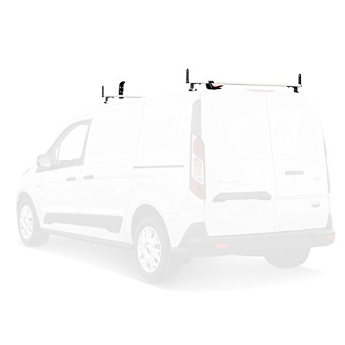 J2000 Aluminum Ladder Roof Rack 2 bar System with Accessories for a 2014-Newer Transit Connect White