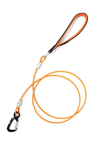 Mighty Paw Chew Proof Dog Leash - Six Foot Metal Cable Lead, Non Chewable Braided Cord with Padded Handle. Chew Resistant, Great for Large Dogs and Teething Puppies (Orange)