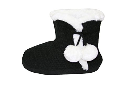 Non SLL Booties 6109 black Slippers Indoor Sherpa Slip Cold Weather Womens Knitted Sll UqEzPx