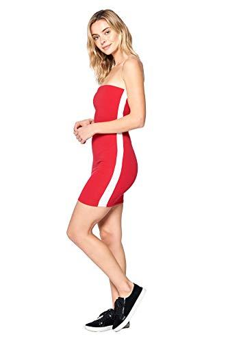 (Khanomak Women's Side Stripe Casual Basic Sleeveless Tube Dress (Red, Medium))