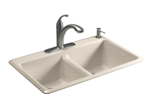Kohler K-5840-2-FD Anthem Cast Iron Self-Rimming Sink with Two-Hole Faucet Drilling, Cane Sugar