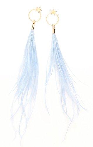 Fashion Boho Elegant Thread Dangle Earrings Star&Round Embellishment Handmade Feather Jewelry Blue by Edress Jewellery (Image #4)