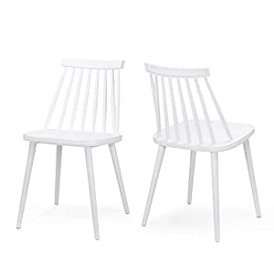 Christopher Knight Home Phoebe Hume Farmhouse Spindle-Back Dining Chair (Set of 2), White