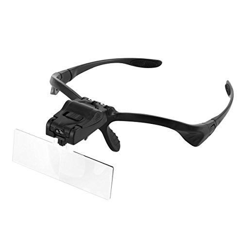 Headband Magnifier Magnifying Glasses with Light, SOONHUA Jeweler's Glasses Handsfree Reading with 2 LED Lamps and 5 Replaceable Lenses (1.0X, 1.5X, 2.0X, 2.5X, 3.5X) by SOONHUA