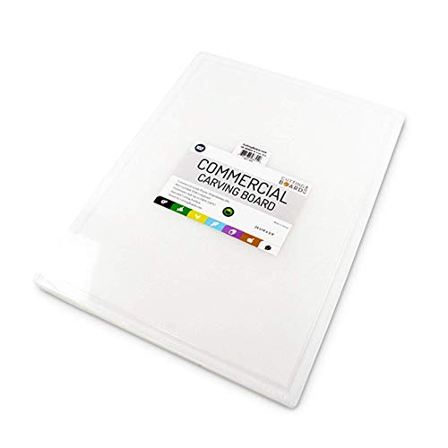 Commercial Plastic Carving Board with Groove, NSF Certified, HDPE Poly, 24 x 18 x 0.75 Inch, White
