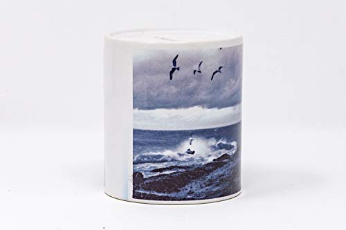 (Five Mile Point Storm Design, Coin Bank, Hand Imprinted Photograph, Ceramic,)