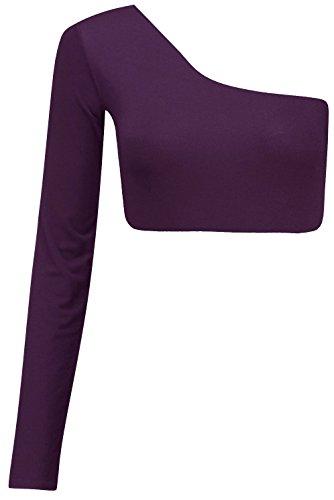 New Ladies One Shoulder Long Sleeve Crop Top Bralet Vest Tops