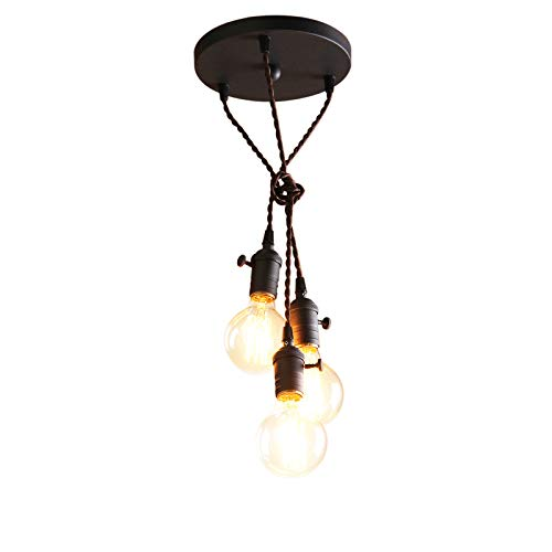 - Permo 3-lights Mini Cluster Chandelier Hanging Pendant Light with Braided Textile Cord (Black)