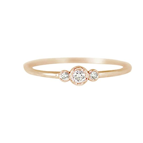 (Fashion Simple 3 Zircons Alloy Charm Ring Anti Allergy Women Lady Jewelry Gift - Rose Golden US 8)