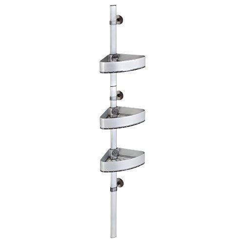 InterDesign AFFIXX Strong Self-Adhesive Metro Ultra Rustproof Aluminum Adjustable Corner Shower Station for Bathroom - Silver/Smoke by InterDesign