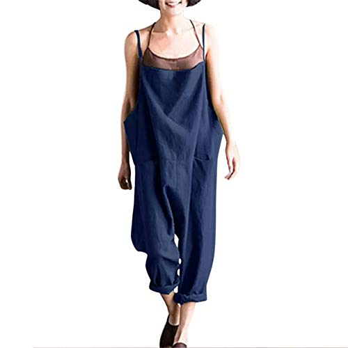 Thenxin Women's Baggy Overalls Spaghetti Straps Sleeveless Romper Hippie Long Pants Bib Dungarees(Navy,S) ()