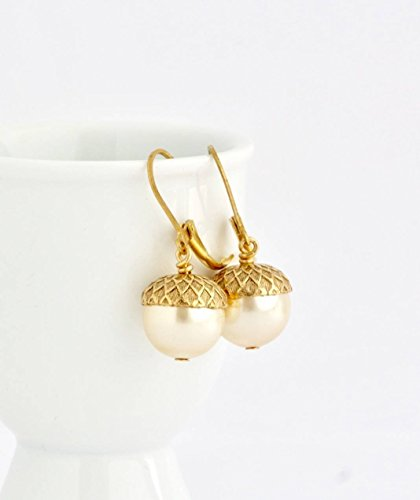 Acorn Drop Earrings (Acorn Earrings - Pale Gold Simulated Pearl Lever-back Ear Wires)