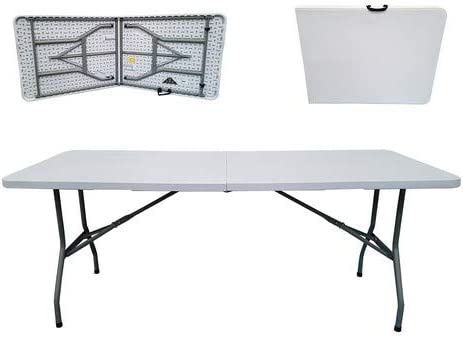 Folding Tables Uk Rectangular Plastic Top Fold In Half Table 400 Kg Load Capacity With Steel Securing Pins 6 Foot Amazon Co Uk Garden Outdoors