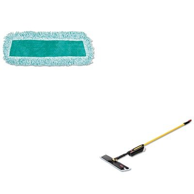 KITRCP3486108RCPQ408GRE - Value Kit - Light Commercial Spray Mop, 18quot; Frame, 52quot; Steel Handle (RCP3486108) and Rubbermaid Q408GRE 18quot; Standard Microfiber Dust Mop with Fringe, Green (RCPQ408GRE)