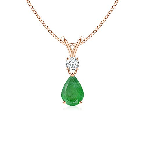 May Birthstone - Prong Set V Bale Diamond and Emerald Drop Pendant in 14K Rose Gold (7x5mm Emerald)