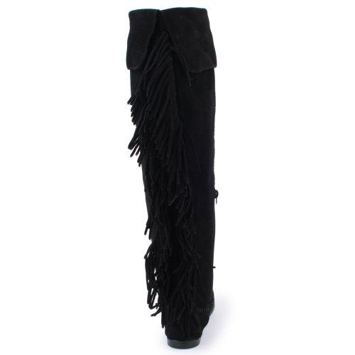 Minnetonka - Botas de ante para mujer negro - negro