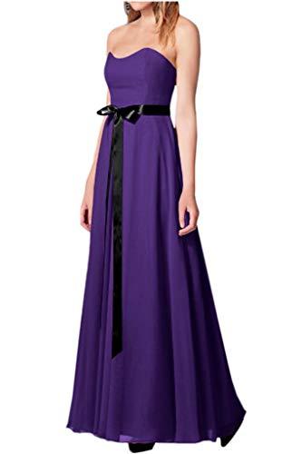 mia Lila Schwarz Linie Traegerlos A Braut Guertel Satin Abendkleider Chiffon La Brautjungfernkleider Partykleider Lang gqAdSUn