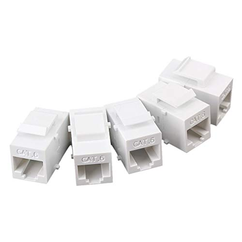 Outlet Coupler Panel - Maxmoral 5-Pack CAT6 Keystone Coupler, RJ45 UTP Coupler Insert - Snap-in Connector Socket Adapter Port for Wall Plate Outlet Panel - White