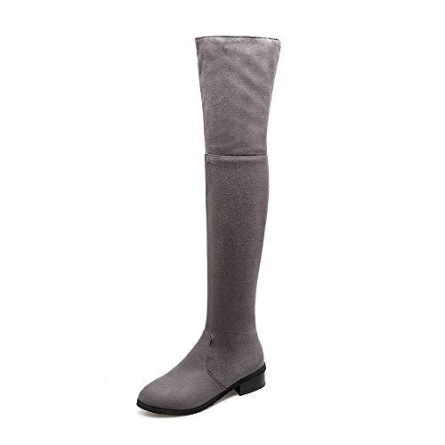 Caballero 32 Mujer Talla 43 Tacón Gamuza Botas Bajo Gris Qingmm 2018 Sobre Invierno La Rodilla De q8Rx1O