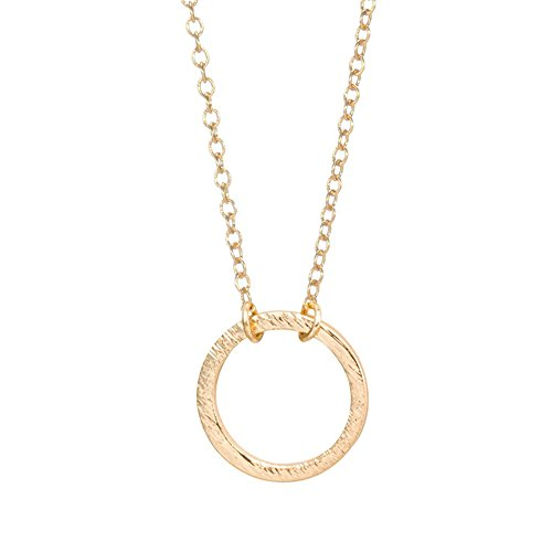 SENFAI Simple Figure Forever Circle Pendant Necklace Eternity Infinity Minimalist Jewelry (gold) -