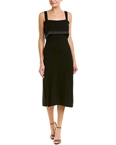 c Tipping Flounce Wool-Blend Midi Dress, M, Black ()
