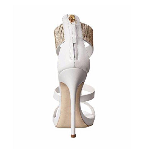 Sandali White altezza Ragazza 12 Tacchi Fibbia Bocca Alto E Regolabile Delle Di Pesce 13cm Strass Tacco Partito Con In Donne Pelle Cm rST1ar