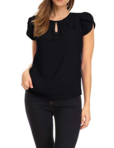 GloryStar Women's Chiffon Blouse Cap Sleeve Keyhole Tops Layering Basic Pleated Tops Black XL
