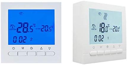AVStar funciona con pilas Pantalla LCD para facilidad de control y programaci/ón Termostato inteligente programable para calefacci/ón de calderas de gas carcasa blanco elegante