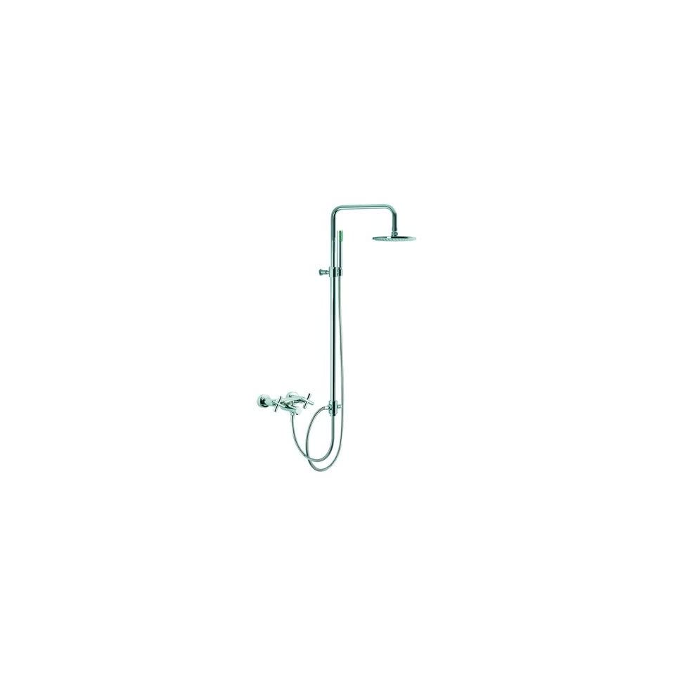 Maxima Wall Mount Thermostatic Tub/Shower Faucet with Rain Shower Head and Hand Shower Finish Brushed Nickel