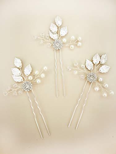 (Aegenacess 3Pcs Wedding Hair Decorative Pins Side Set - Leaf Leaves Flower Bridal Vine Boho Clip Crystal Rhinestones Bridesmaids Gift Accessories for Bride Women (Silver))