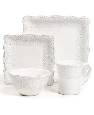 Christmas Tablescape Décor - Maison Versailles Blanc Elisabeth white earthenware square 4-piece place setting by Tabletops Unlimited