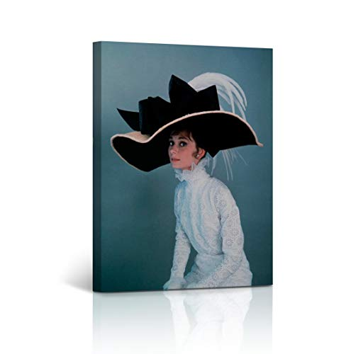 Buy4Wall Audrey Hepburn Wall Art Canvas Print Vintage My Fair Lady Movie in Big Hat Vintage Home Décor Framed Art Decorative Artwork - Ready to Hang -%100 Handmade in the USA - 40x30 ()