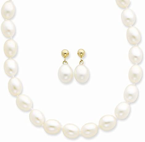 Necklace /& Earrings Set 14K Gold White Potato FW Cultured Pearl 18 in