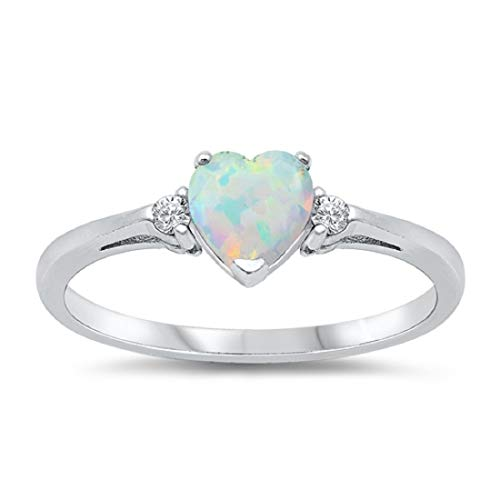 Wedding Engagement Heart Promise Ring Lab Created White Opal Round CZ 925 Sterling Silver, Size-6