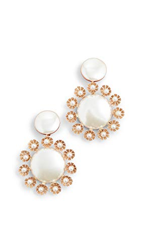 Lele Sadoughi Women's Round Earrings with Plumeria Trim, Pearl, Off White, Gold, One Size
