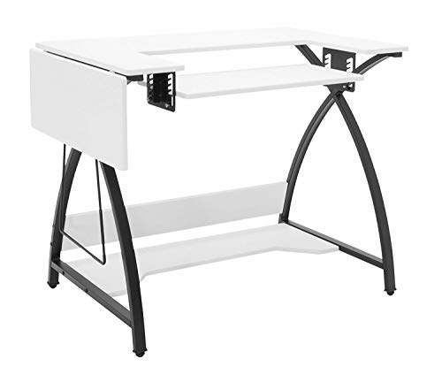 Black White Sewing Machine Table Hobby Craft Desk Storage Shelf with Ebook