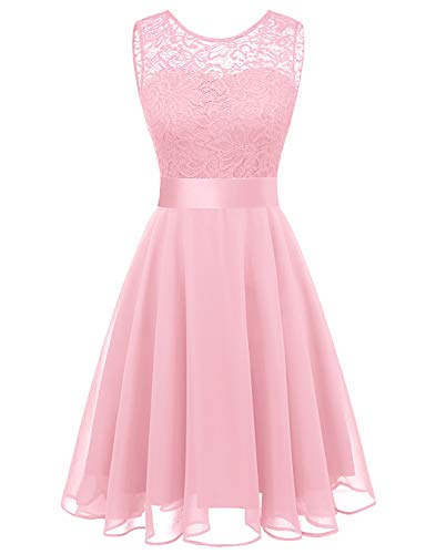 BeryLove Women's Short Floral Lace Bridesmaid Dress A-line Swing Party DressBLP7005PinkXL