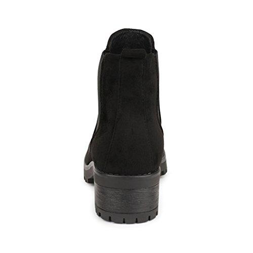Best-Boots - Plataforma Mujer Black - Schwarz Samt