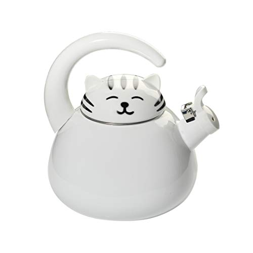 HOME-X White Cat Whistling Tea Kettle, Cute Animal Teapot, Kitchen Accessories