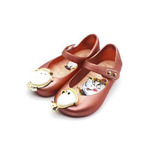 Girls Jelly Sandals Beauty And The Beast Girls Sandals Jelly Kids Sandals Non-Slip Kids Shoes Gold 11