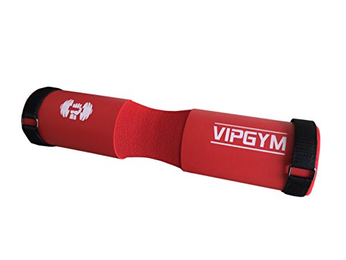 """SALE!! Barbell Pad for squats with VELCRO STRAPS17.5"""" Weight Lifting soft Cushion for Squats, lunges and Hip Thrusts. Neck and Shoulder Protective Sponge. Fits Olympic and Standard weight Bars. Red."""