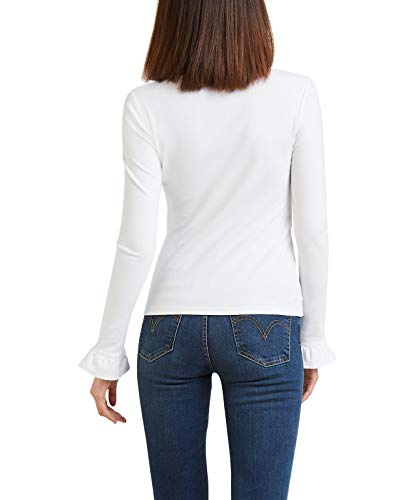 Womens White Sleeve Medium Ribbed Top Ruffle Levis x0Swtq8t