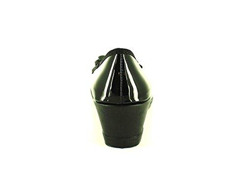 Neue Damen Heels Schwarze Größen mit Schleife UK Wedges Patent Schwarzes Damen Slip Low Lack 3 8 Schuhe On UpxUw