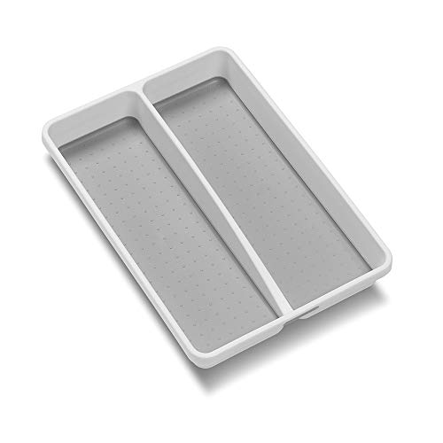 Madesmart Classic Mini Utensil Tray White Classic Collection 2 Compartments Kitchen Organizer Non Slip Lining And Rubber Feet Bpa Free