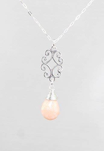 Pink Peruvian Opal Gemstone Necklace with Filigree and Sterling Silver Chain - 18