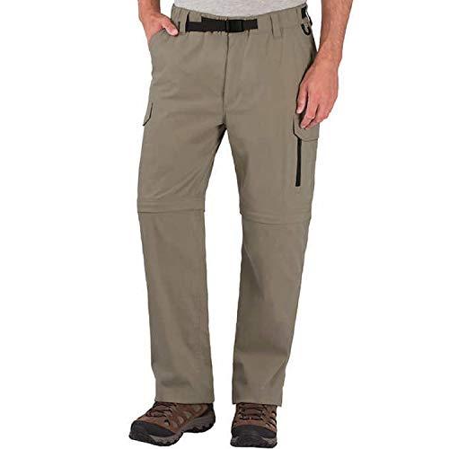 BC Clothing Mens Convertible Cargo Pant (Waist size Large-32 Inseam, Khaki)