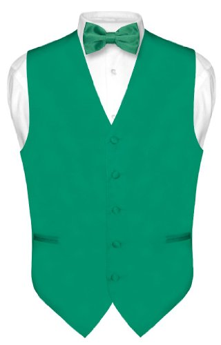 Men's Dress Vest & BowTie Solid EMERALD GREEN