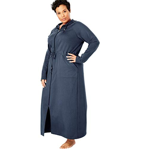 Dreams & Co. Women's Plus Size Tie Waist Zip-Front Hooded Robe - Navy, 30/32