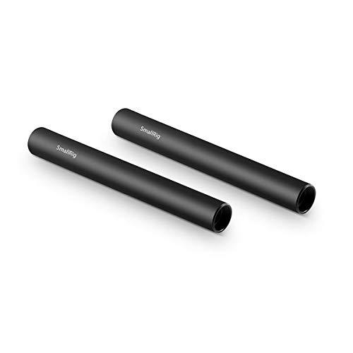 SMALLRIG 4 اینچ (10 سانتی متر) آلیاژ آلومینیوم سیاه 15 میلی متر میله با موضوع ماده M12 ، بسته 2 - 1049