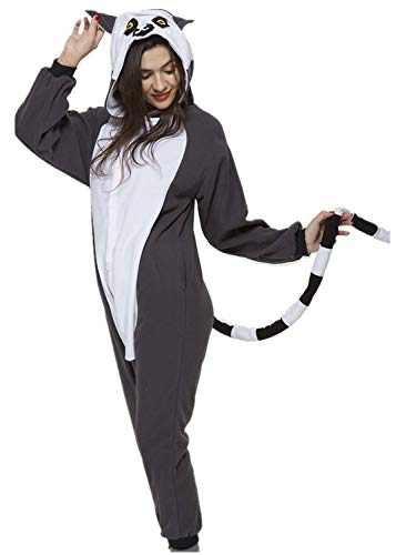 Unisex Adult Onesie Lemur Pajamas One-Piece Cosplay Costume Sleepwear Luxury Fleece with Pocket for Women Man Halloween]()